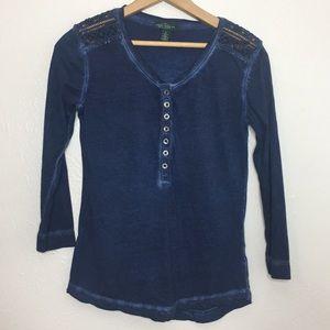 Lauren LRL Henley lace shoulder 3/4 sleeve top S